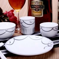 现货批发 创意酒店餐厅消毒餐具定制logo 家居日用陶瓷碗盘套装