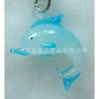 大量供应海豚手机饰品挂件玻璃挂件
