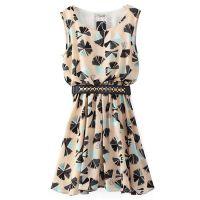 2015春季新款 欧美女装 植物印花铆钉腰带套头无袖雪纺连衣裙THWM