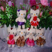 厂家直销、花束娃娃公仔、婚纱小熊毛绒挂件、带钻情侣熊kt猫