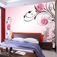 壁画厂家 3d壁纸 现代简约 玫瑰花纹 电视沙发床头 婚房背景墙
