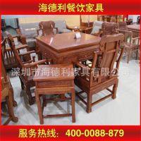 田园乡村风餐厅桦木餐桌椅 手工雕花四人位桦木餐桌椅 优质品