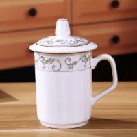 批发陶瓷带盖水杯 景德镇建源陶瓷杯定做厂家