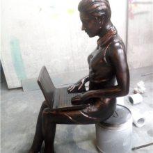 碧桂园仿铜键盘手雕塑玻璃钢白领女性主题树脂摆件玩笔记本电脑人物