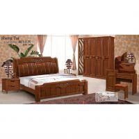 包邮简单大方胡桃木色橡木床橡木双人床欧式套房家具