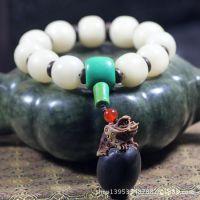 天然白菩提根鼓珠+优化绿松石三通+缅茄菩提  原创设计佛珠手串