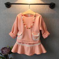 贝拉童装秋冬装气质小香风儿童毛呢套装 洋气短裙 上衣+短裙2.12