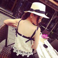 小银子2015夏装新款名媛气质好品质水溶蕾丝蝴蝶结吊带背心B6115