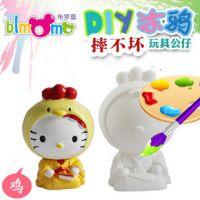 创意儿童DIY手工涂鸦石膏娃娃白坯 陶瓷彩绘摔不坏存钱罐 YX-C045