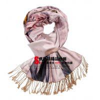 杭州高端品牌真丝披肩 复古民族风平纹花卉流苏保暖女士围巾批发