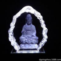 厂家供应创意3D内雕水晶佛像 高清立体个性玻璃内雕 工艺品