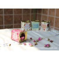 供应迷你花茶铁罐 欧式翘盖茶叶罐 金属小方罐 茉莉花茶包装罐