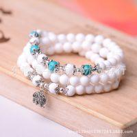 天然白砗磲手链108珠佛珠手链 搭配绿松石银饰手链 东海水晶