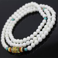 低价批发108颗6MM天然白砗磲佛珠手链 砗磲+绿松石转运珠手链