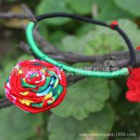 厂家直销中国风特色手工制作布艺玫瑰长款项链 民族风原创项圈