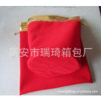 【供应】批发红色圆底金口绒布袋 拉绳抽绳束口袋 礼品袋可印logo