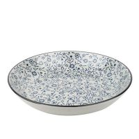 【圆盘】山田烧釉下彩手绘陶瓷 深饭盘汤盘 和风日式料理鱼盘