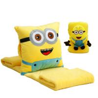 小黄人暖手捂抱枕两用靠垫空调毯子三合一