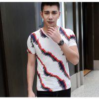 品牌厂家 2015韩版青年男式短袖条纹纯棉t恤 男士修身V领打底衫