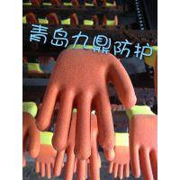 厂家批发耐油耐酸实用十三针彩纱黄纱红PVC发泡浸胶劳保防护手套