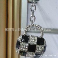 韩版时尚黑格镶钻包包钥匙扣 精美小礼品 员工福利 厂家直销批发