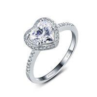 正品纯银电镀铂金爱心形SONA钻戒字印PT950定制18K真钻手饰 戒指