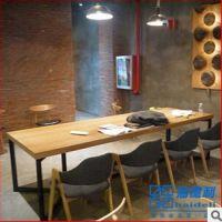 新古典工业风长方形餐桌 实木多人位餐厅桌子 现货有限