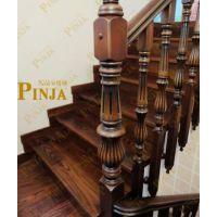 木纹粗矿红橡木制作楼梯 立柱外挂式橡木楼梯 古典美式楼梯做旧款式