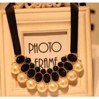 欧美饰品 明星同款项链 珍珠绸带项链 欧美大牌项饰 速卖通货源