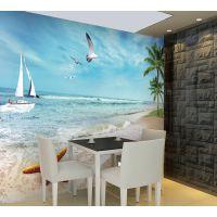 海洋沙滩个性定制地中海墙纸温馨烂漫沙发电视床头儿童房背景墙