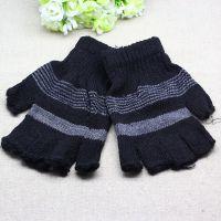 秋冬手套保暖手套成人五指半指手套批发 男式冬季针织手套