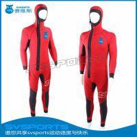 5mm连体潜水服加工定做 粘合款长袖保暖潜水衣 带帽5mm潜水服