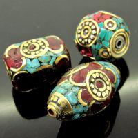 尼泊尔 绿松石珊瑚 精美大铜珠 圆点系列 多款 DIY饰品配件批发