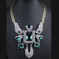 速卖通货源批发 欧美时尚大牌夸张镶钻翅膀绿宝石项链xl488