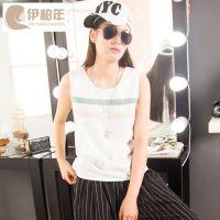 新款条纹雪纺背心上衣一件代发2016韩国夏季无袖女式t恤批发代理
