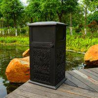 绿岚【铸铝垃圾桶】武汉别墅花园室外景观工程古铜色铸铝垃圾桶