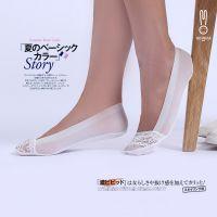 专柜日系女 超柔真丝边棉底 蕾丝镂空船袜 整圈硅胶隐形袜TWZ33
