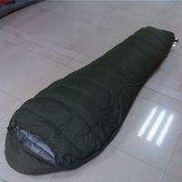 厂家直销批发木乃伊式羽绒睡袋 冬季保暖羽绒睡袋 成人睡袋军绿色