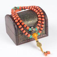 厂家直销佛珠 天然尼泊尔红蜜蜡带天眼配绿松石手链 精美手串批发