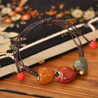 景德镇陶瓷饰品 花釉编织陶瓷手链 民族风饰品批发 心形陶瓷手链