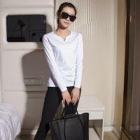 长袖薄修身短款上衣圆领白色纯棉t恤韩版小衫潮春秋打底衫女