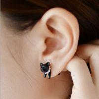 YR033 原宿立体珍珠动物小豹子猫咪穿刺耳钉男女款
