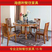 厂家定做 高档实木餐桌椅 圆桌 桦木餐台 成套家具 一桌6椅组合