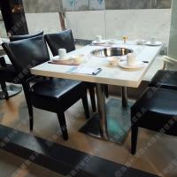 物美价廉 大理石下沉式火锅桌 小户型火锅餐桌 全软包椅子电磁炉火锅台