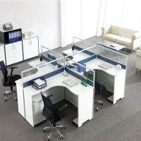 明发家具四人位办公桌屏风卡座 简约办公室职员电脑桌定做