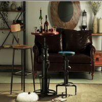 北欧复古酒吧椅升降吧椅做旧消防栓铁艺吧台桌椅子组合厂家定制