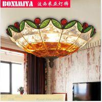 波西米亚灯具欧式田园吸顶灯 彩碎琉璃餐厅客厅卧室灯饰