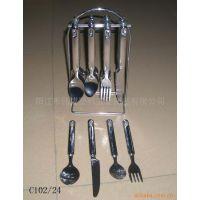 24件套电镀塑料柄餐具、西餐用具、刀、叉、勺