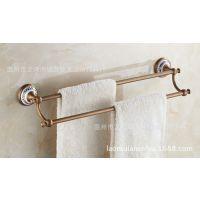 仿古浴室挂件双杆毛巾架,全铜仿古毛巾杆,青花瓷双杆毛巾架