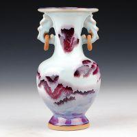 鼎众 景德镇陶瓷器 仿古钧瓷双耳窑变花瓶 家居装饰摆设 工艺品